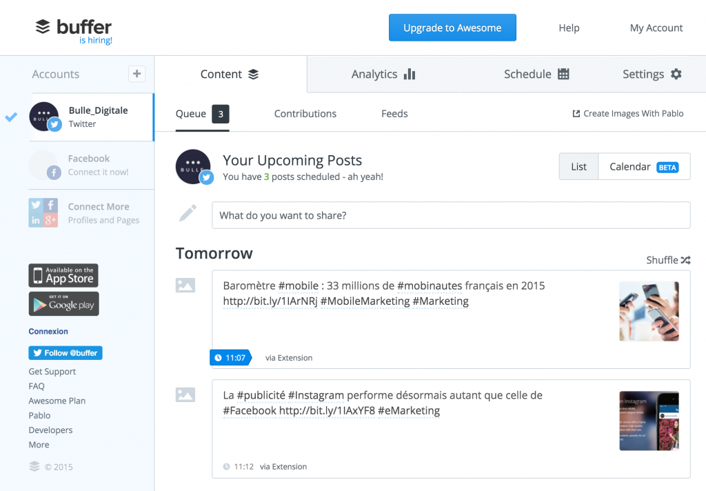 Interface de Buffer outils de community management