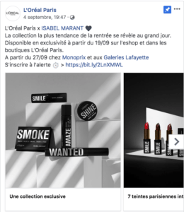 L'Oréal Carrousel 1 Publication Facebook Marketing