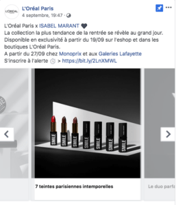 L'Oréal Carrousel 2 Publication Facebook Marketing