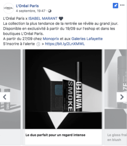L'Oréal Carrousel 3 Publication Facebook Marketing