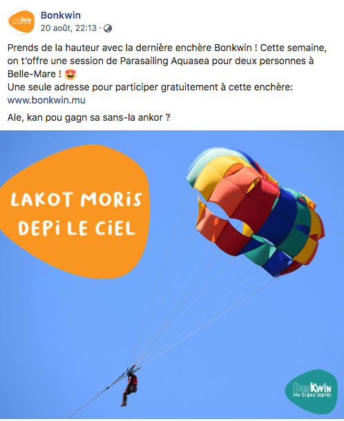 Jeu Concours Bonkwin Publication Facebook Marketing