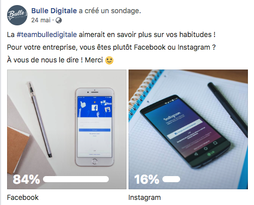 Bulle Digitale Sondage Publication Facebook Marketing